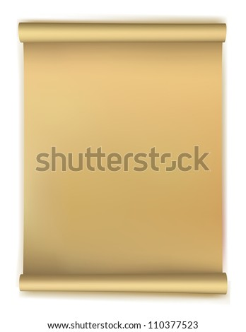 Old scroll paper isolated on white background. Vector