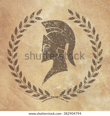 old shabby symbol of reproduction on paper Spartan warrior in grunge style - stock vector