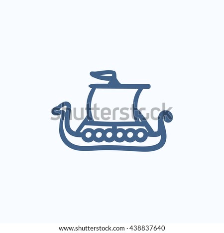 Old ship vector sketch icon isolated on background. Hand drawn Old ship icon. Old ship sketch icon for infographic, website or app. - stock vector