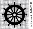 Old ship wheel icon - stock photo