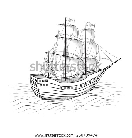 old ship with sails and the sea on a white background - stock vector