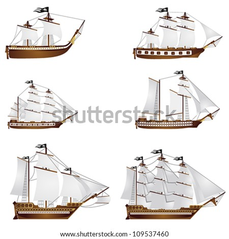 Old ships - stock vector