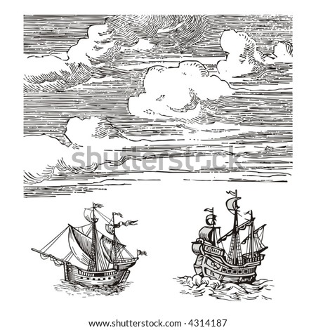 Old ships vector - stock vector