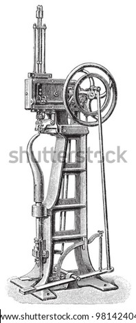 Old shoe making machine / vintage illustration from Meyers Konversations-Lexikon 1897