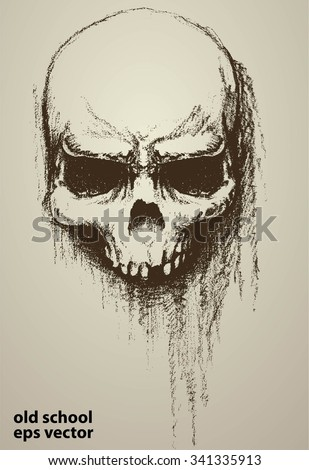 old skull doodle art and dirty grunge, apply as print tees, background or poster