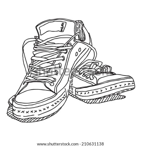 Old sneakers vector drawing isolated on white background - stock vector