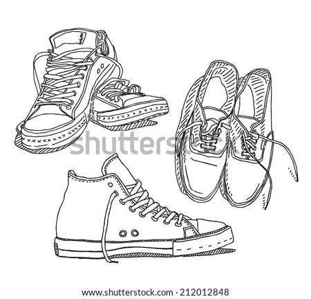 Old sneakers vector drawing set isolated on white background - stock vector