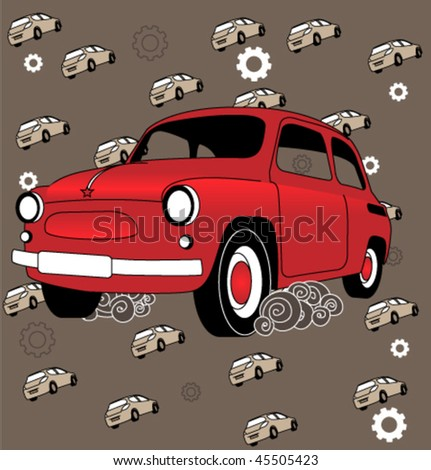 Old soviet car. Back in USSR. - stock vector