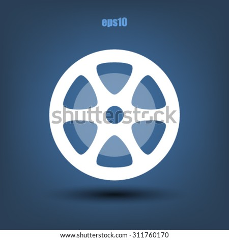 Old spool tape flat icon - stock vector