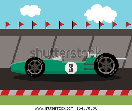 old sports car on race track  - stock vector