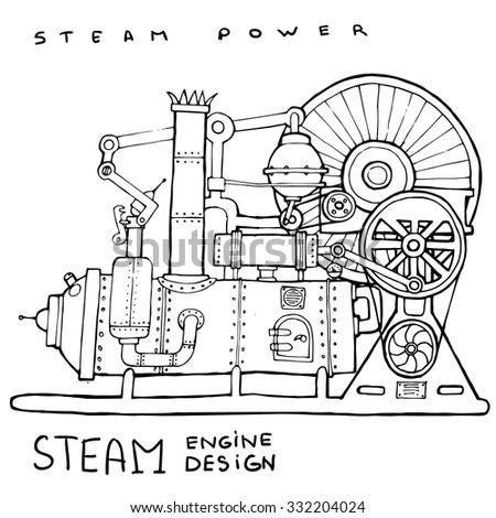 Old steam engine. Hand drawn vintage illustration.Vector - stock vector