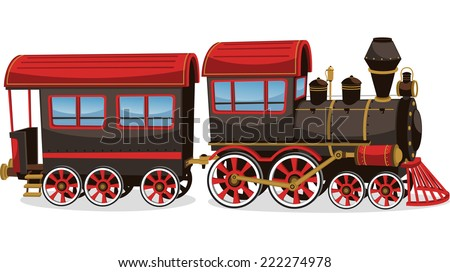 Old steam train, red and brown vector illustration cartoon. - stock vector