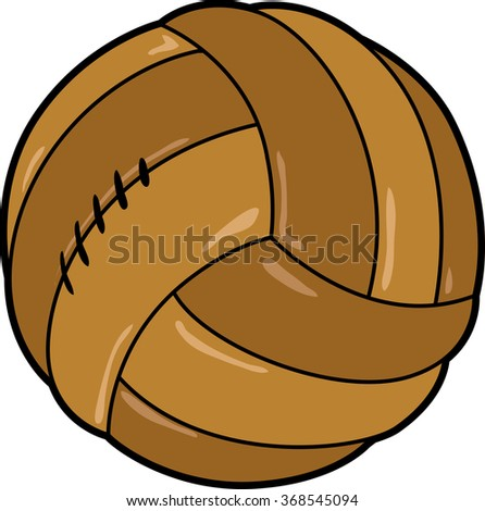 Old stitched leather soccer ball - stock vector