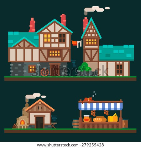 Old stone and wooden houses, quiet life in the suburbs, rurality and the shelves in the grocery market. Village and medieval city. Vector flat illustration and sprite for game - stock vector