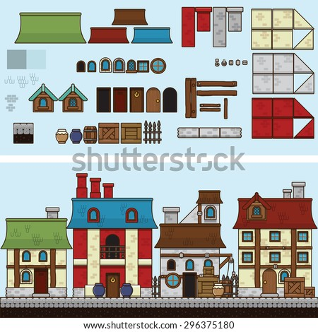 Old stone and wooden houses. Vector flat illustration and sprite for game - stock vector