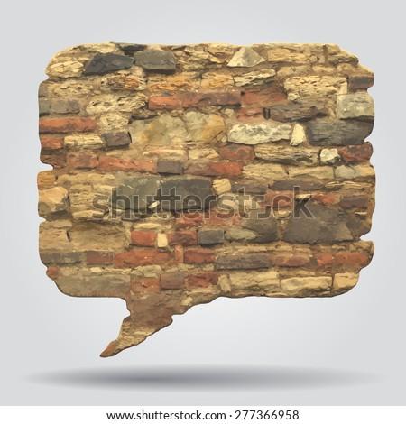 Old stone wall speak bubble. Vector illustration - stock vector