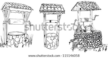 Old stones and wooden wells - stock vector