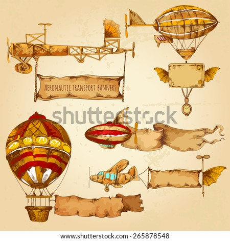 Old style airships with advertising banners hand drawn set isolated vector illustration - stock vector