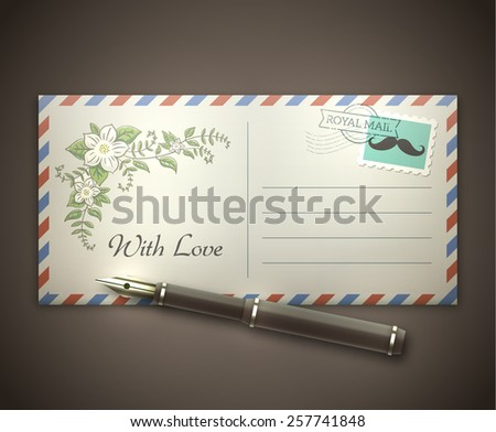 Old style blank envelope with a picture of flowers and a postal stamp lying on a desk with a vintage pen. Soft romantic lighting effects. EPS10 vector illustration. - stock vector