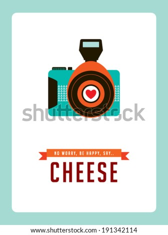 old style camera poster - stock vector
