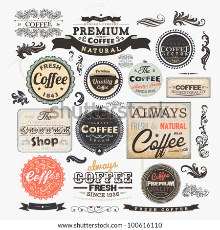 Old style Coffee frames and labels | Retro floral ornaments | Vintage ribbons, borders and other elements collection for Coffee design | eps10 vector set - stock vector