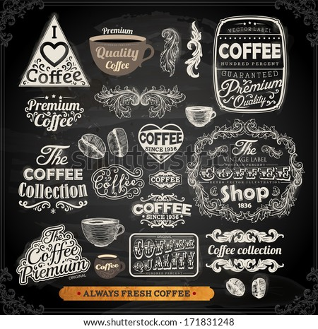 Old style Coffee frames and labels | Retro floral ornaments | Vintage ribbons, borders and other elements collection for Coffee design | eps10 vector set. Chalkboard illustration variant. - stock vector