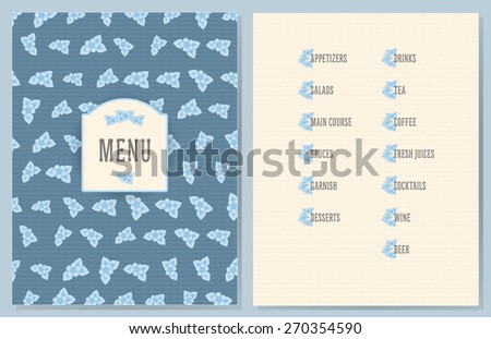 old style decorated menu with flower decorated sections - light blue color flowers on vintage blue color wave background - stock vector