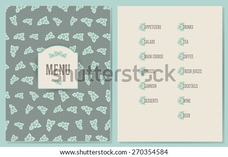 old style decorated menu with flower decorated sections - light green color flowers on vintage green color wave background - stock vector