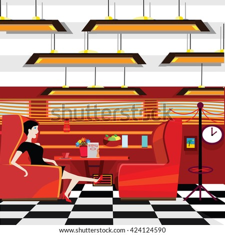 old style diner with a lady sitting at a table - stock vector