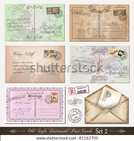 Old style distressed postcards (set 2)with a lot of post stamps with vintage designs. Rubber stamps included.