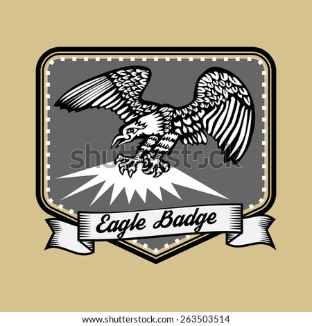 Old style Eagle in frame with ribbon logo and badge - stock vector
