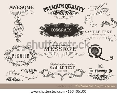 Old style frames and labels/ Retro floral ornaments/ Vintage  borders and other elements calligraphic collection