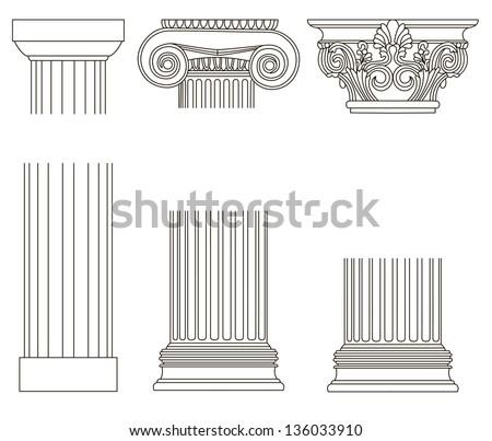 old-style greece column. eps10 vector illustration - stock vector