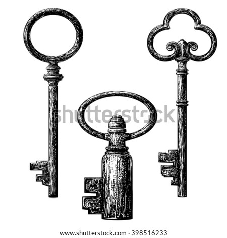 old style key collection . etching vector drawing