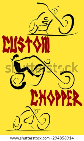 Old-style Motorcycle Custom. American chopper. Grunge Vector Background