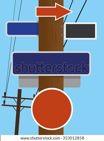 Old style telephone pole for overhead lines with blank street and road traffic signs and copy space available for text - stock vector