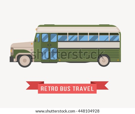 Old style travel omnibus illustration. American commuter retro coach. Tourist bus in green color. Vector autobus isolated on white background.