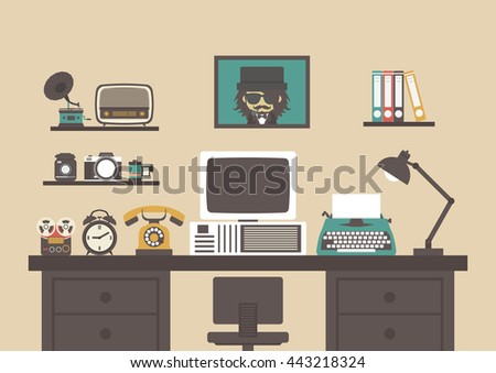 old style working room with old equipment , retro workspace - stock vector
