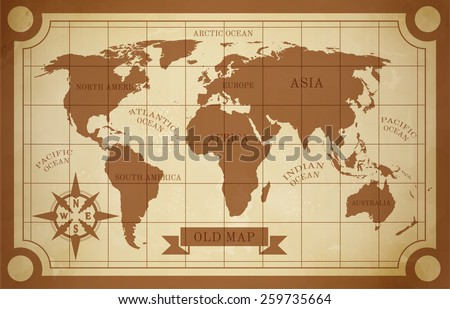 Old style world map vintage document travel poster vector illustration - stock vector