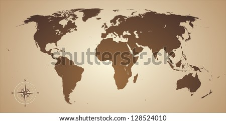 Old style world map with compass icon. Vector illustration - stock vector