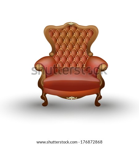 Old styled brown vintage armchair isolated on white background, antique furniture - stock vector