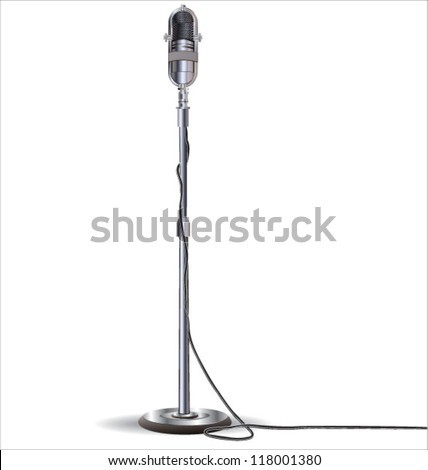 Old styled microphone vector - stock vector