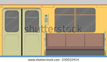 Old subway car interior. Vector illustration. EPS 10, opacity - stock vector