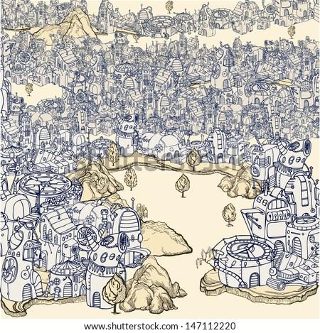 Old Tech City. - stock vector
