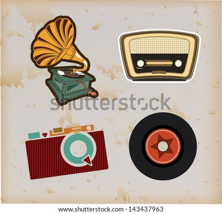 old technology over vintage background vector illustration