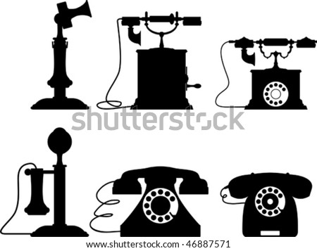 Old telephone collection - stock vector