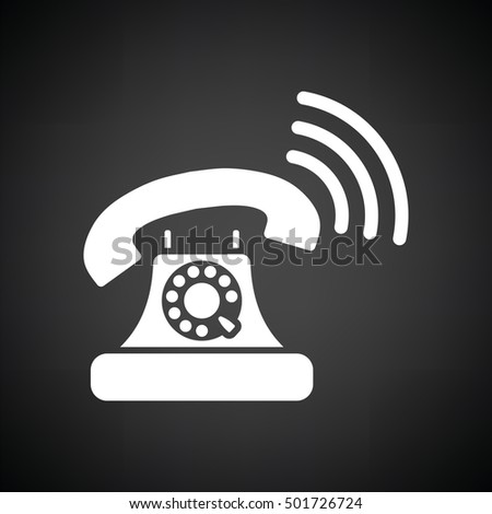 Old telephone icon. Black background with white. Vector illustration.