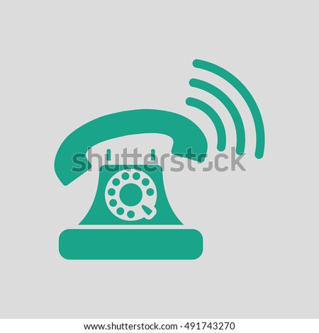 Old telephone icon. Gray background with green. Vector illustration.
