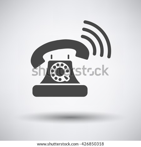 Old telephone icon on gray background with round shadow. Vector illustration.
