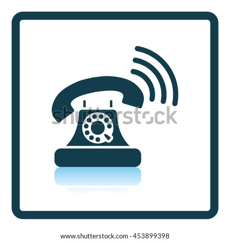 Old telephone icon. Shadow reflection design. Vector illustration.